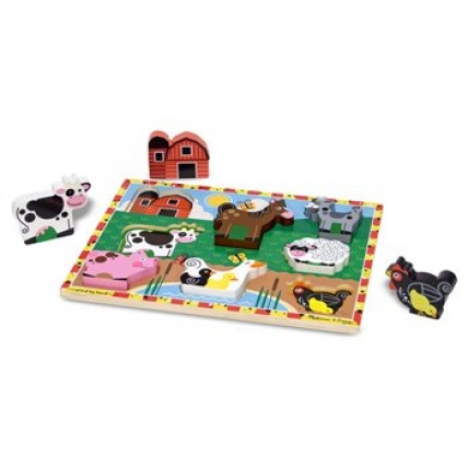 Puzzle lemn in relief Animale de ferma Melissa and Doug MD 3723