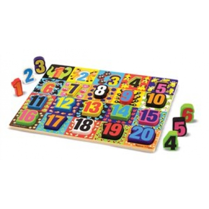 Puzzle lemn in relief - Numere de la 1 la 20 - Melissa and Doug MD 3832