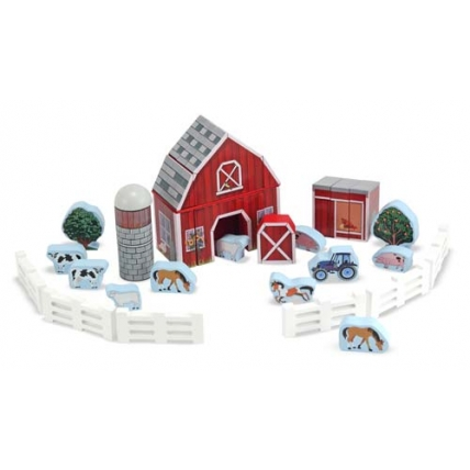 Cuburi din lemn ferma de construit - Melissa and Doug MD 0531