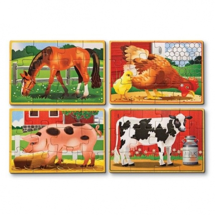 Set 4 puzzle lemn in cutie - Animale domestice Melissa and Doug MD 3793