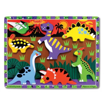 Puzzle lemn in relief Dinozauri Melissa and Doug MD 3747