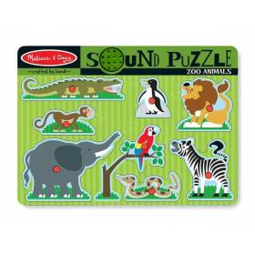 Puzzle de lemn cu sunete Animale de la Zoo - Melissa and Doug MD 0727