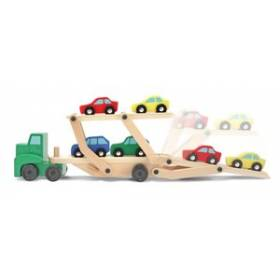 Camion transportor de masini din lemn Melissa and Doug MD 4096