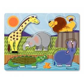 Puzzle de lemn Atinge si descopera - Animale Zoo Melissa and Doug MD 4328