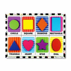 Puzzle din lemn in relief Forme geometrice Melissa and DOUG MD 3730