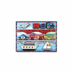Puzzle lemn in relief Mijloace de transport Melissa and Doug MD 3725