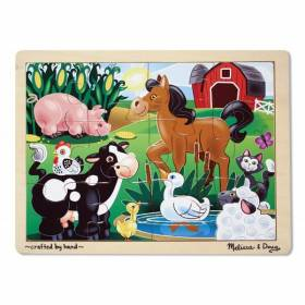 Puzzle din lemn cu 12 piese Ferma Melissa and Doug MD 2934