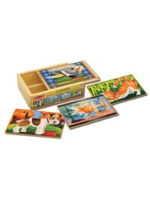 Set 4 puzzle lemn in cutie - Animale de companie Melissa and Doug MD 3790