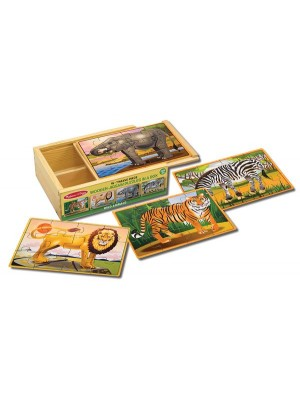 Set 4 puzzle lemn in cutie - Animale salbatice MD 3796
